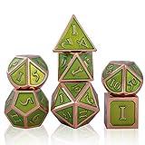 Schleuder 7 Pezzi Dadi D&D Set in Metallo, Poliedrici DND Dice Set in Lega di Zinco per Rpg Dungeons & Dragons, Dadi da Gioco di Ruolo da Tavolo, Insegnamento della Matematica (Copper - Green)