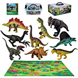 Ingooood Dinosaur Toys for Boys & Girls, Educational Realistic Dinosaur Playset with Activity Play Mat and Dinosaur Encyclopedia, Including T-rex, Triceratops, Gifts for Kids Age 3 4 5 6
