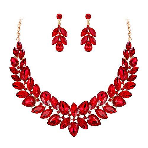 EVER FAITH Juegos de Joyas para Mujer Cristal Austríaco Boda 2 Capas Flor Hoja Vid Collares Pendientes Conjunto Rojo Tono Dorado