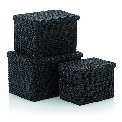 Kela 32124 Korb-Set 3tlg, Unterschiedliche Größen, PP-Kunststoff, Rimossa, Schwarz