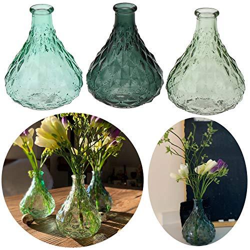 LS-LebenStil 3X Deko-Flaschen Glasvase 12cm Set Blumenvase Tisch-Vase Väschen