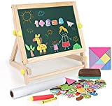 Arkmiido Kids Tabletop Easel with Paper Roll,Double-Sided Whiteboard & Chalkboard Tabletop Easel