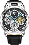 Stuhrling Orignal Mens Watch Automatic Watch Skeleton Watches for Men - Leather Luxury Dress Watch - Mechanical Watch Stainless Steel Case Self Winding Analog Watch for Men