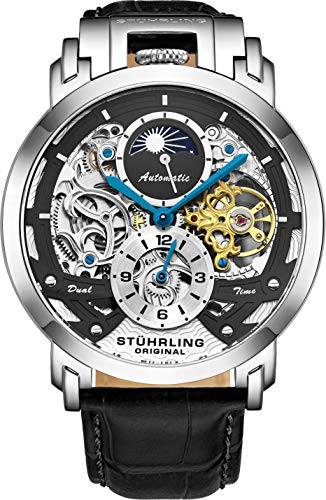 Stuhrling - Reloj de Pulsera para Hombre, automático, diseño de Esqueleto para Hombre, Piel, Reloj mecánico, Caja de Acero Inoxidable, Reloj analógico para Hombre