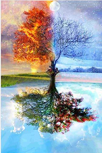 Colorido árbol de Cuatro Estaciones y patrón de Puesta de Sol Puzzle,Puzzles para Adultos,Rompecabezas,Puzzle 1000 Piezas