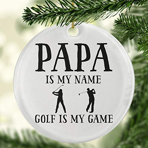 ymot101 Papa is My Name Golf is My Game Circle Ornament Golf Ornaments Golf Christmas Ornaments Golf Ball Ornaments Golf Cart
