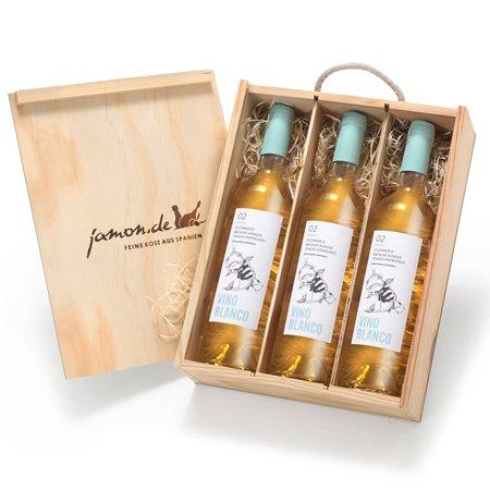 Weingeschenk BLANCO | Drei Weißweine aus Spanien | Geschenkfertig verpackt in Weinkiste aus Holz | Vino Blanco D.O. Utiel-Requena | Trocken, fruchtig | Macabeo und Chardonnay
