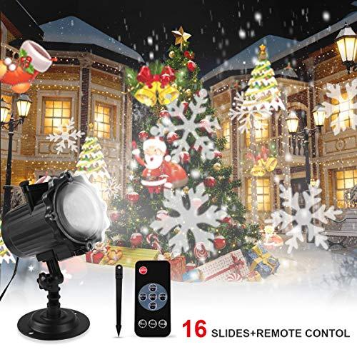 Scopri offerta per Proiettore Luci Natale, Proiettore Natale Esterno Interno Proiettore Fiocchi di Neve Impermeabili lampada proiettori LED 16 Diapositive con Telecomando RF per luci natalizie, Compleanno, Capodanno