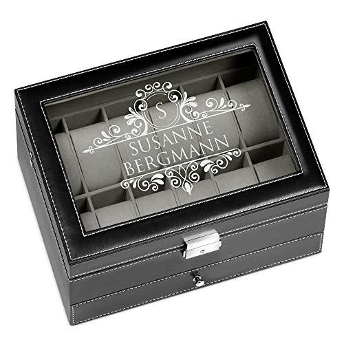 Murrano Uhrenbox mit Gravur für 12 Uhren & Schmuck - 30x20x13cm - Uhrenkasten aus Kunstleder - Schwarz - Geschenk für Damen - Monogramm