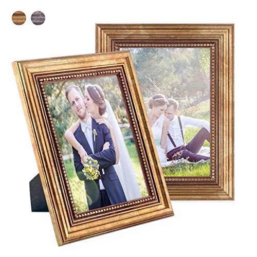 PHOTOLINI 2er Set Bilderrahmen 13x18 cm Gold Barock Antik Massivholz mit Glasscheibe und Zubehör/Fotorahmen/Barock-Rahmen