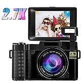 Digitalkamera Fotoapparat Digitalkamera 2,7K 24MP Full HD-Kompaktkamera für YouTube 3,0-Zoll-Flip-Screen-Fotokamera mit 180-Grad-Drehung und einziehbarem Blitzlicht