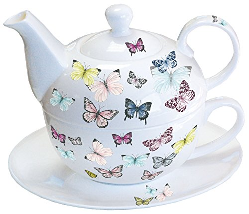 Ambiente - Luxury Paper Products Amiente Tea for one Butterfly - Schmetterlinge - Set 3-teilig Porzellan Teekanne mit Tasse und Untertasse