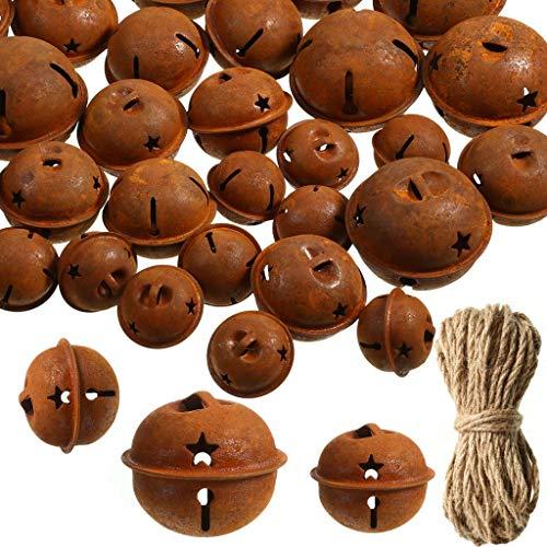 AILINDA 6cm Rusty Star Jingle Bells + 4cm Jingle Bells arrugginito con 65ft spago di iuta fai da te, albero di Natale appeso ghirlanda ghirlanda ornamenti decorazione (24PCS)