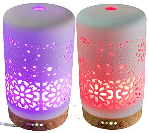 Marmor LED das Duftöl Aroma Diffuser, GXZOCK 200ml Luftbefeuchter Ultraschall Vernebler Raumbefeuchter Elektrisch Duftlampe Öle Diffusor mit 7 Farben LED elegante zeitlose Optik/für Raum/Büro