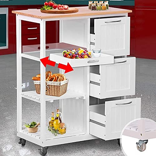 Küchenwagen mit Rollen - 67x37x87,5 cm Arbeitsplatte und Rahmen aus Holz, 3 Schubladen, 2 Ebenen und Serviertablett, Weiß - Küchentrolley, Servierwagen, Küchenschrank, Rollwagen im Landhausstil
