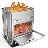 Réchaud de Camping Réchaud de Randonnée Pliable en Acier Inoxydable Combustion au...