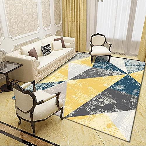 CCTYJ El patrón de combinación Retro de triángulo Gris y Amarillo Puede ser Aire Acondicionado y Transpirable Dormitorio Sala de Estar Sala de Estar alfombra-140x200cm Alfombra económica con diseño m
