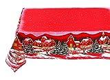 KUTEX - Exclusivo mantel de Navidad moderno rectangular, 100% algodón con estampado ecológico de paisaje navideño