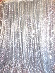 6Ftx6Ft Silver Sequins Backdrop Curtain