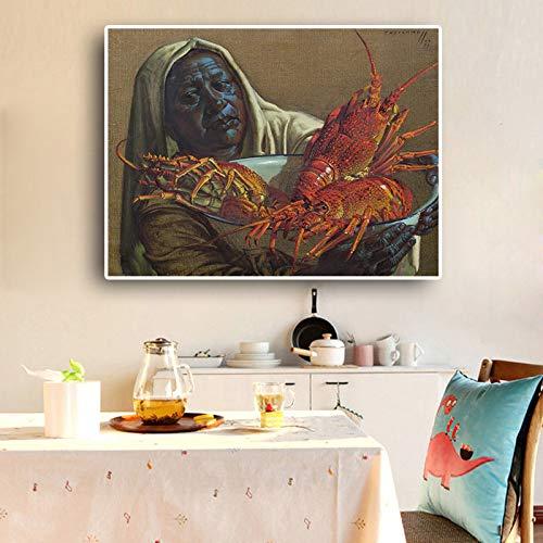 RTCKF La señora y el Cangrejo de río copian el Cartel del Arte de la Pintura al óleo sobre Lienzo y la Imagen de la Pared de la Cocina de la Sala de impresión (sin Marco) A2 40x50cm
