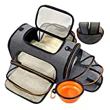 Pet Travel Carrier Bag Pet Carrier Backpack Expandable Dog Carrier Backpack Airline Approved Folding Pet Cage for Dogs or Cats, Soft Sided Cat Carrier with Foldable Bowl