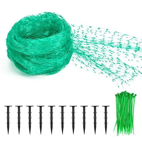 KATELUO 2x5M Vogelschutznetz, Vogelschutznetz Grün, Vogelnetz mit 10 Stück Gartensicherungsstiften, 50 Stück Kabelbinder, Gartennetze, Pflanzennetz für Garten Obstbäume Kletterpflanzen Gemüse Blumen