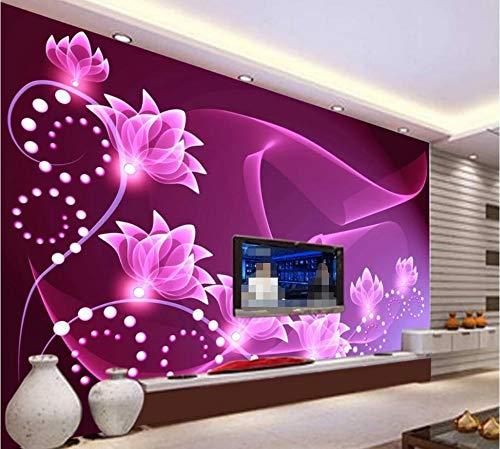 Fototapete 3D Effekt Tapete Lila Romantische Sieben Blumen Vliestapete 3D Wallpaper Moderne Wanddeko Wandbilder