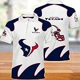 QWEIAS Houston Texans NFL Rugby Fans Jersey Brodé à Manches Courtes T-Shirt De Sport Américain De Rugby Sweat-Shirt Polo 4XL