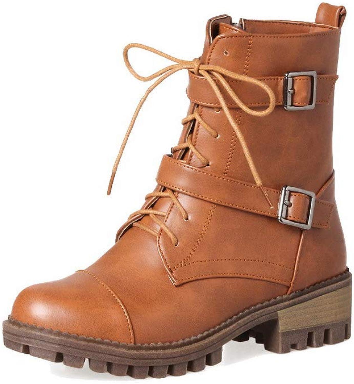 WeiPoot Women's Zipper Kitten-Heels Pu Solid Ankle-High Boots, EGHXH118705