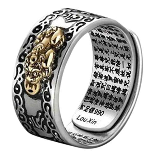 Pixiu Charms Feng Shui Amulet Wealth Lucky Open Adjustable Ring Buddhist Jewelry Ring