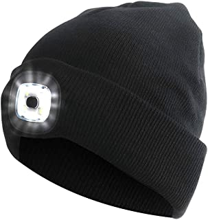Unisex LED Beanie Hat with Light, Gifts for Men Dad Him and Women USB Rechargeable Winter Knit Lighted Headlight Headlamp Cap