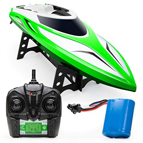 Force1 Velocity H102 RC Boat - Remote Control Boat for Pools and Lakes, Fast RC Boats for Adults and Kids with 20+ mph Speed Boat, 4 Channel 2.4GHZ Remote Control, Rechargeable Boat Battery (Green)