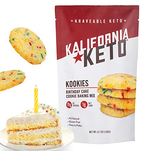 Kalifornia Keto Birthday Cake Cookie Mix – Low Carb, Keto-friendly, and Sugar Free, 6.7 oz pack (12 Keto Cookies) – Soy Free, Gluten free, Dairy Free, and Grain Free Keto Baking Mix