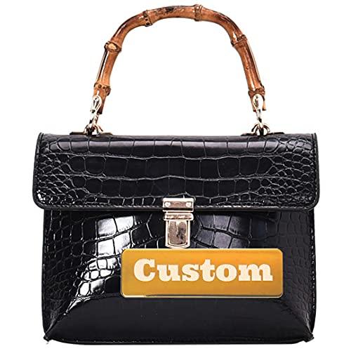 Nombre Personalizado Bolsa de Asas del Hombro para Las Mujeres Crossbody Handbags Cuero Cuero Bolso Hombro (Color : Black, Size : One Size)