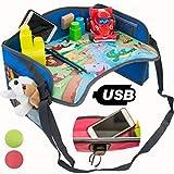 MesitaDeJuego1+ Mesa de juego de viaje en coche para niños con puerta USB 2.0 para Tablet, Smartphone. Bandeja para Dibujar, Entretener a los niños en Avión, Tren, Cochecito, Silla de coche, Parque