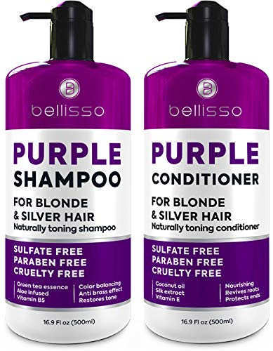 Purple Shampoo and Conditioner Set - Sulfate Free Salon Grade (2 x 16.9 fl oz) - Hydrating Toner - Shimmer Correction for Platinum Blonde, Silver, Light, and Grey Hair