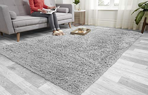 Super Soft FLUFFY Shaggy Rug Anti-Slip Carpet Mat Living Room Large Area Rugs Modern Floor Bedroom Extra Large Size Non Shedding (Silver, 200cm x 290cm (6.6ft x 9.5ft))