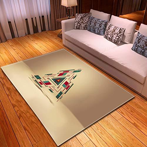 DRTWE Alfombra,Alfombras De Terciopelo con Estampado De Geometría 3D Alfombrillas De Juego De Espuma Viscoelástica Patrón De Triángulo De Colores Suave Al Tacto Pila Gruesa Antideslizante Yoga
