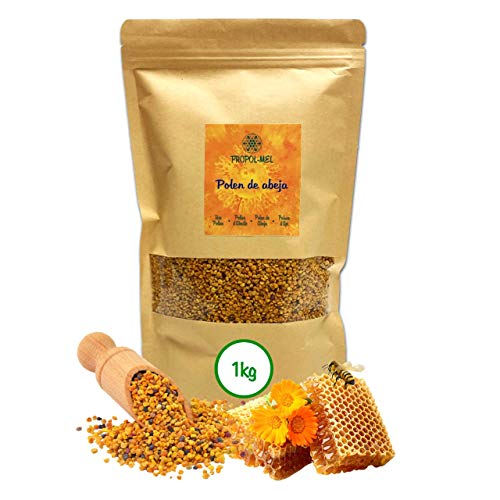 1 kg - Polen de España 100% natural. Polen de abeja libre de residuos. Polen fuente de proteinas, aminoácidos, lípidos, vitaminas y minerales.