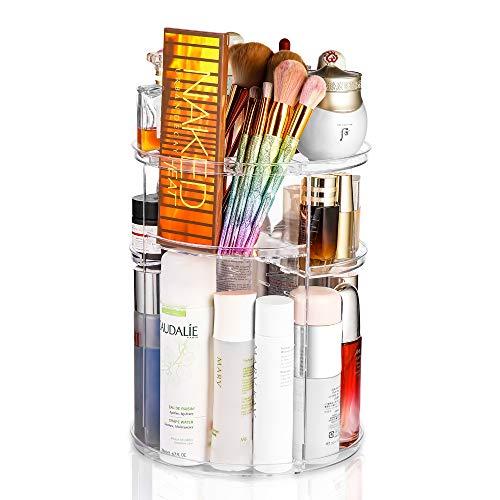 360° drehbarer, verstellbarer Kosmetik-Organizer – drehbarer Halter für Schlafzimmer, Kommode oder Schminktisch-Arbeitsplatte, passend für Make-up-Pinsel, Lippenstifte, etc. (transparent)