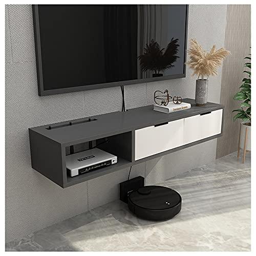 WFENG Mueble para Salón/Mueble TV Suspendido,Con Gabinetes de Almacenamiento Abiertos,Muy Resistente,Resistente Suciedad Estable/gris / 100×23×17cm