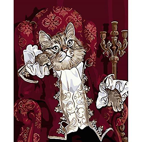 DIY handgemalte Ölgemälde vorgedruckte Leinwand Mr Cat Sofa Schöne Shop Hotel Dekoration 40x50cm ohne Rahmen