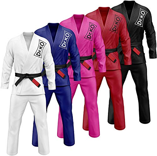 Kimono Dr. KO Jiu Jitsu BJJ GI. Unisex Adulto (Negro, A4)