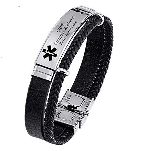 Personalized Medical Alert ID Leather Bracelet Customized Med Identification Bangle Disease for Women Men Health Awareness Alarm Jewelry for Emergency