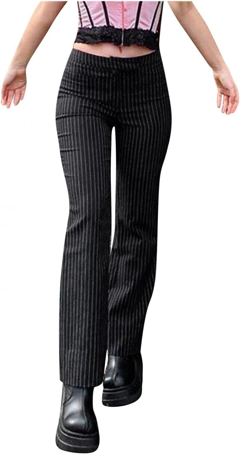 Women 's Striped Pants Casual Mid Waist Zip Stretch Straight Pants Vintage Y2k Skinny Trousers Fashion Slim Pants (Black, Large)