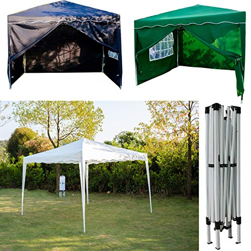 FlyingBanana001 3x3M POP UP Garden Gazebo Marquee Party Tent Canopy with Carry Bag for Outdoor Camping BBQ Wedding Gazebo, PVC coated, Fully Waterproof, without Side Panels, Green