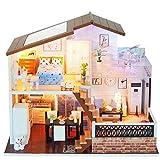 XZJJZ Puppenhaus DIY Miniatur Room Set-Wood Craft Construction Kit-Holz-Modellbau Spielzeug-Mini Puppenhaus-Geburtstags-Geschenke for Junge Mädchen und Freunde (Size : Cabin Finished with Cover)
