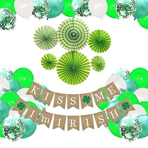 47Pcs St. Patrick's Day Decorations, Kiss Me I Am Irish Banner, Felt Shamrock Banner, 6pcs Fans, 40Pcs Balloons, Irish St. Patty's Day Banner Party Decorations, St. Patrick's Day Party Favors Set