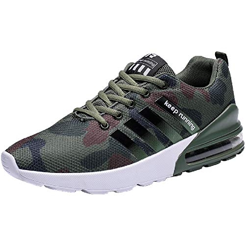 Wealsex Zapatos para Correr En Montaña Asfalto Aire Libre Deportes Zapatillas De Running para Hombre (42 EU, Camuflaje Verde)