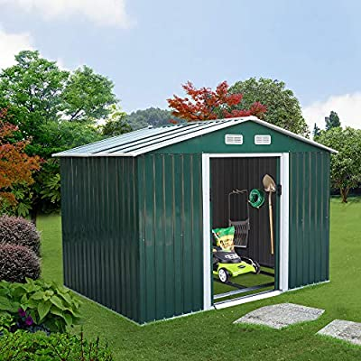 JAXSUNNY 6.3' x 9.1' Large Outdoor Storage Steel Shed with Gable Roof, 4 Vents, a Double Sliding Door, Stable Base, Sturdy, Green and White